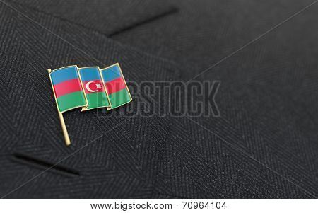 Azerbaijan Flag Lapel Pin On The Collar Of A Business Suit