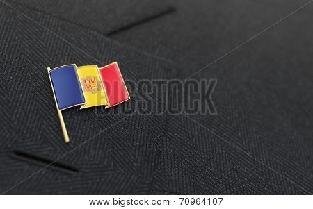 Andorra Flag Lapel Pin On The Collar Of A Business Suit