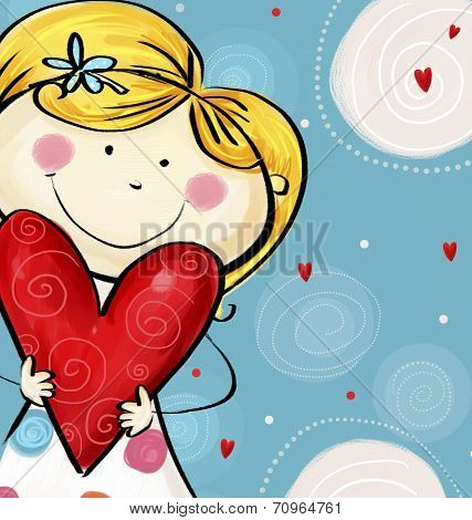 I love you postcard. Cute  girl with the big heart. Valentine's day card.Happy mothers day. Love bac