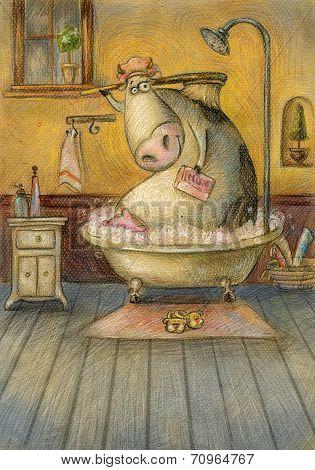 Cute cow in the bathroom washing herself.Vintage background.Children illustration. Cartoon childish
