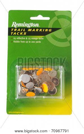 Hayward, CA - August 21, 2014: 50 Remington brand reflective trail marking tacks for finding your way back in the dark