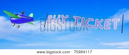 Cartoon Airplanes With Ticket Banner