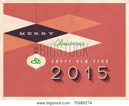 Vintage Merry Christmas and Happy New Year 2015 Card  - Vector EPS10