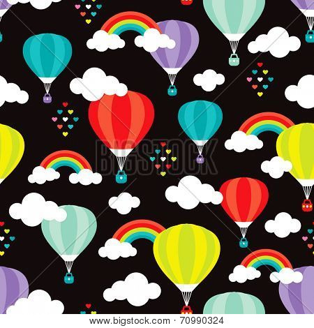 Seamless dark night colorful kids hot air balloon illustration clouds background pattern in vector