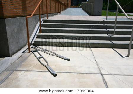 Crutches In Front Of A Stairway