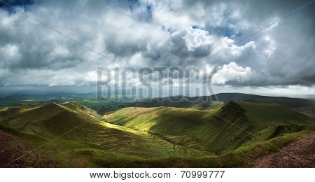 Panorama Landscape Image Of View From Peak Of Pen-y-fan In Brecon Beacons