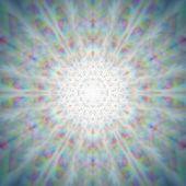 Mystic shiny dandelion mandala with optical aberrations poster