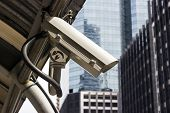 CCTV camera in the city for safety poster