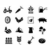set of 16 farm and agriculture icons poster