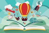 Imagination concept - open book with air balloon, rocket and airplane flying out poster