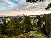 Sandstone formations in Bohemian Paradise, Czech Republic poster