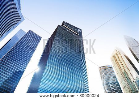 Contemporary Architecture Office Building Cityscape Personal Perspective Concept