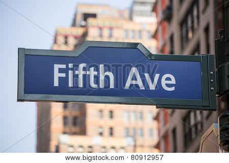 Fifth avenue blue sign 5 th Av New York Manhttan USA