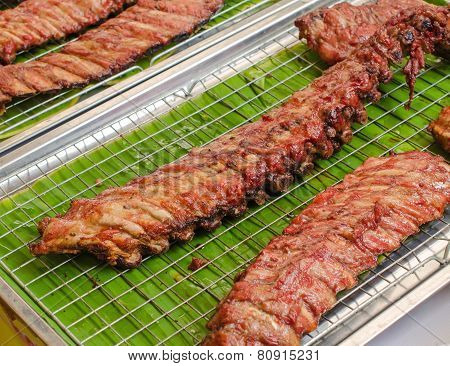Bbq Pork Ribs On Grille In Market