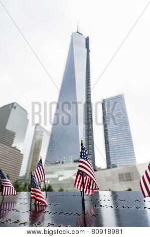 Usa Flags At World Trade Center
