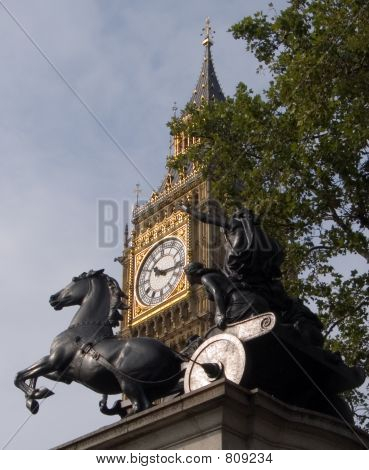 Image of the statue of Queen Boadicea erected in 1902 with Big Ben (St Stephen's Tower) in the background. poster