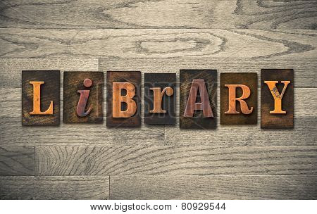 Library Wooden Letterpress Concept