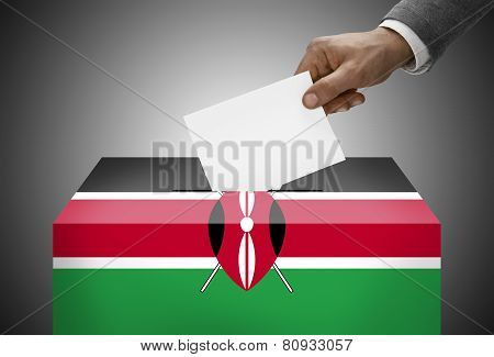 Ballot Box Painted Into National Flag Colors - Kenya
