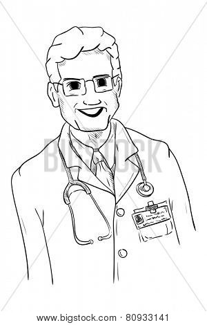 vector - mature doctor - isolated on background
