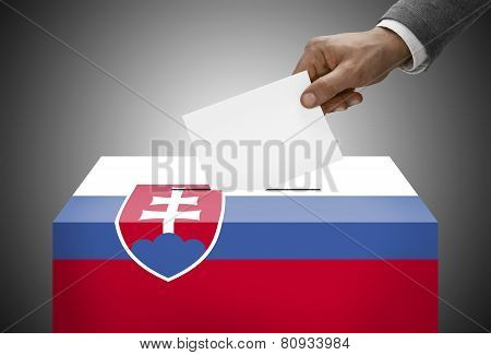 Ballot Box Painted Into National Flag Colors - Slovakia