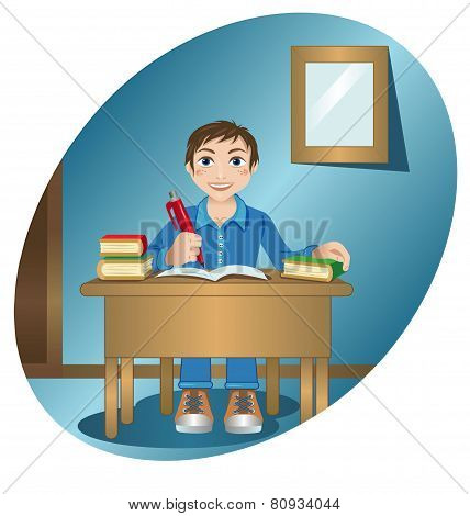 Schoolboy At The Table