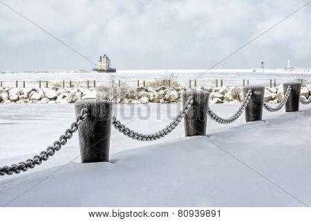 Lorain Lighthouse In Winter