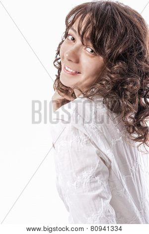 Happy Smiling Caucasian Brunette Woman With Long Beautiful Curly Hair. Isolated Over Pure White Back
