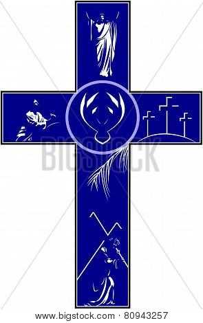 Cross Depicting Crucifixion Resurrection