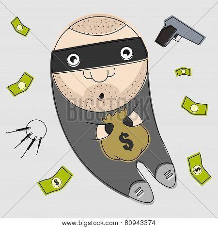 Funny thief illustration