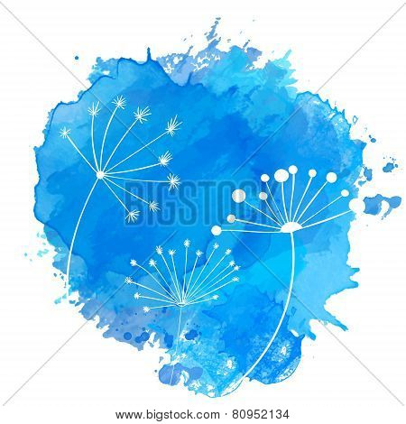 Blue paint splash with white silhouettes of umbel plants