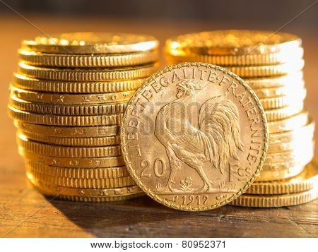 Twenty French Francs gold coins poster