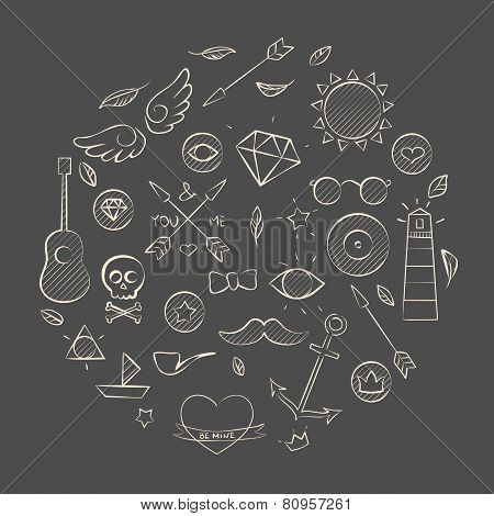 Hand Drawn Set Of Hipster Elements Over Brown