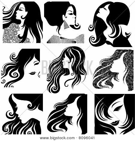 Vector set of closeup portrait of beautiful woman