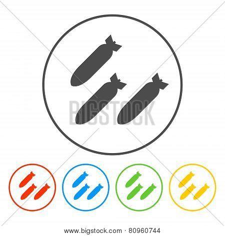 Air bomb vector icon. Flat vector illustrator poster