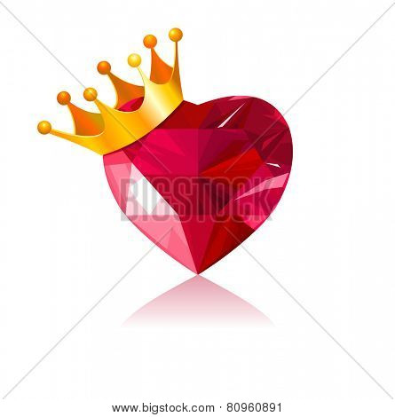 Shiny crystal love heart with gold crown