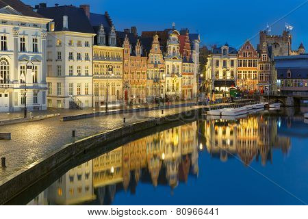 Quay Korenlei in Ghent town at evening, Belgium