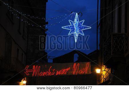 Illuminated light In Aosta,christmas