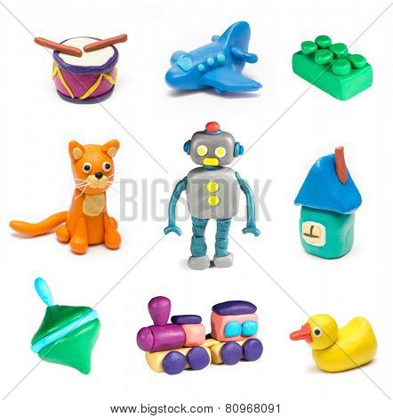 Set of children's toys molded from clay. Vol. 2