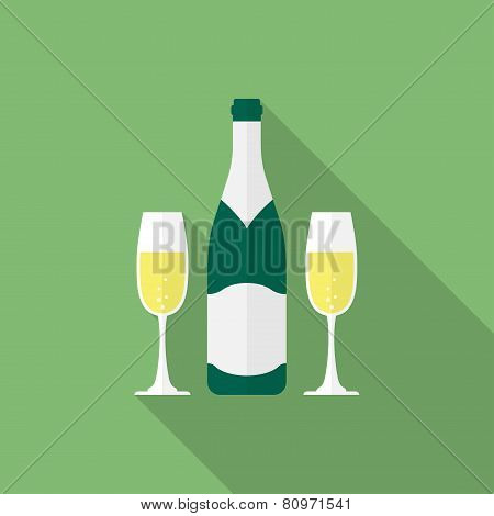Bottle champagne and glasses of champagne. Flat style icon