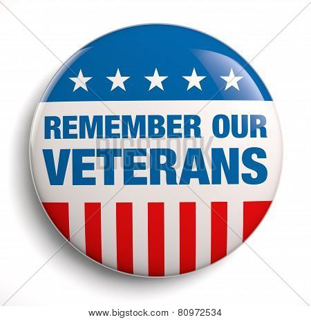 Veterans Day remember badge icon. Isolated on white. poster