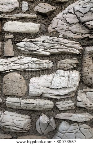 Close-up Of A Rough Stone And Cement Wall