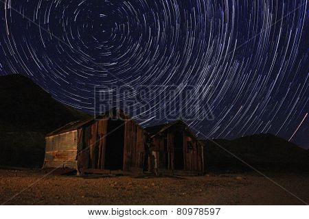 Vortex Night Exposure Star Trails of the Sky in Death Valley California