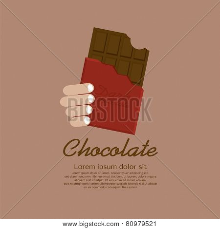 Chocolate Bar In Red Wrap.