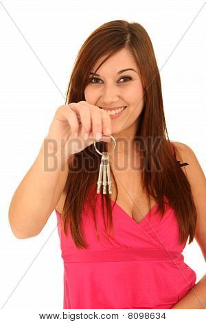 Beautiful Woman With Keys