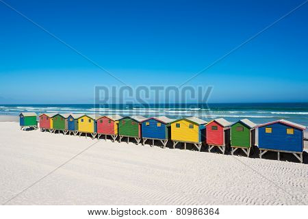 Colorful Beach Houses At Cape Town