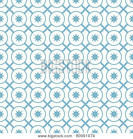 blue and white seamless pattern from marine rope and steering wheel. eps8