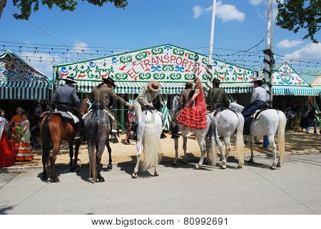 Spanish people on horses, Seville.