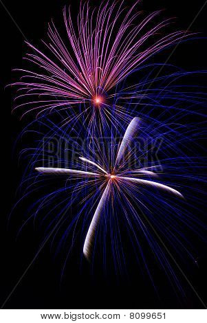 Purple and Blue Fireworks