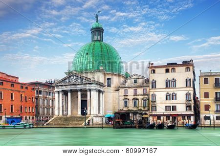 Church San Simeone Piccolo On Embankment Of Canal Grande In Venice