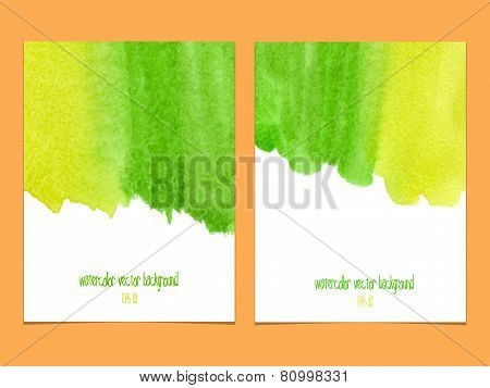 Vector Background With Watercolor  Yellow And Green.